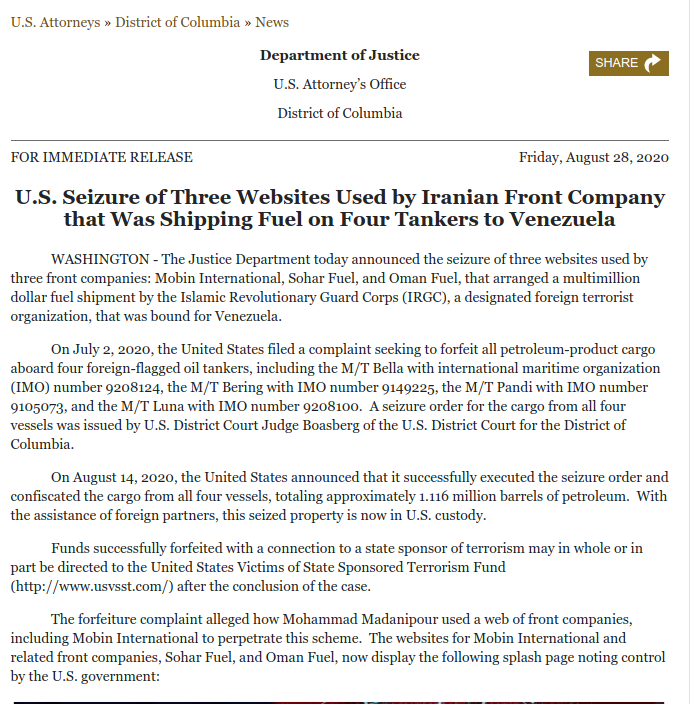 U.S Seizure of Three Websites Used by #Iran|ian Front Company that Was Shipping Fuel on 4 Tankers to #Venezuela